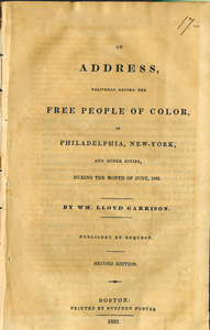 Thumbnail for An address, delivered before the free people of color, in Philadelphia, New-York, and other cities, during the month of June, 1831