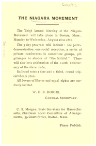 Thumbnail for Announcement of Third Annual Meeting of the Niagara Movement