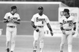 Bo Jackson with teammates during a Birmingham Barons baseball game in Birmingham, Alabama.