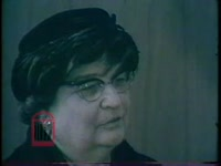 WSB-TV newsfilm clip of reporter Ray Moore interviewing Alice W. Stancil, one of the first women admitted to the academic side of the University of Georgia in 1919, about her experiences at the university, Athens, Georgia, 1961 January
