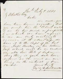 Wylly & Montmollin, Savannah, Ga., manuscript letter signed to Ziba B. Oakes, 3 July 1854