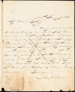 Thumbnail for Letter from Henry Egbert Benson, Prov[idence, Rhode Island], to William Lloyd Garrison and Isaac Knapp, 1834 January 9th