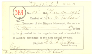 Niagara Movement Receipt No. 25