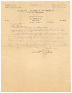 Letter to C.M. Long from Reverend S.S. Jones