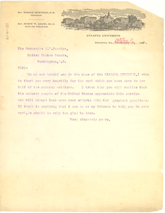 Letter from W. E. B. Du Bois to the Honorable J. B. Foraker