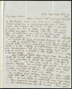 Letter from John Parkman, Cape Elizabeth, [Maine], to Samuel May, July 29, [1845?]
