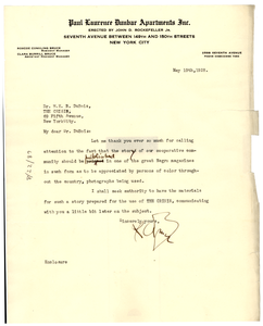 Letter from Dunbar Apartments to W. E. B. Du Bois