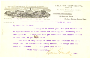 Letter from Horace Bumstead to W. E. B. Du Bois