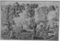 Hunters with dogs chasing a boar, c. 1750-1800