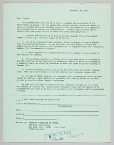Letter announcing meeting to oppose US intervention in Angola