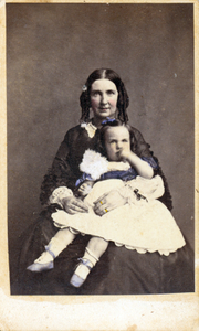 Studio portrait of Lucy Maria Tappan Bowen holding Franklin Davis Bowen, location unknown