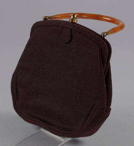 Brown handbag with amber handle from Mae's Millinery Shop