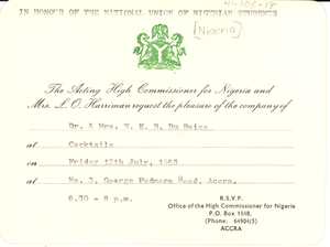 Invitation from National Union of Nigerian Students to Dr. & Mrs. W. E. B. Du Bois