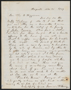 Daniel Stickney autograph letter signed to Thomas Wentworth Higginson, Augusta [Maine], 21 November 1859