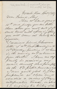 Letter from Joseph Avery Howland, Worcester, Mass., to Samuel May, April 17, 1887