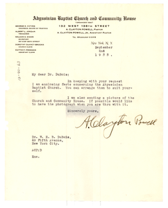 Letter from A. Clayton Powell to W. E. B. Du Bois