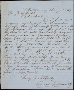 Burch, Kirkland & Co., Montgomery, Ala., manuscript letter signed to Ziba B. Oakes, 17 January 1857