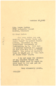 Letter from W. E. B. Du Bois to Leona Barbee