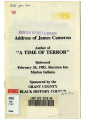 """Address of James Cameron Author of """"""""A Time of Terror"""""""" Delivered February 26th, 1983, Sheraton Inn Marion Indiana Sponsored by the Grant County Black History Council"""