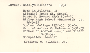 Student family histories: McLemore, Carolyn Dawson (Wheeler, Howard, Culver)