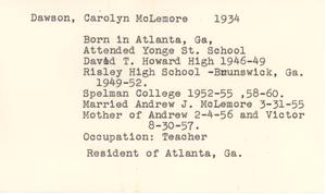 Thumbnail for Student family histories: McLemore, Carolyn Dawson (Wheeler, Howard, Culver)