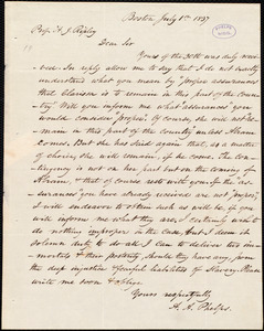 Letter from Amos Augustus Phelps, Boston, to Henry Jones Ripley, July 1st 1837