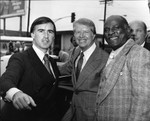Jerry Brown and Jimmy Carter posing with Ted Watkins, Los Angeles, ca. 1977