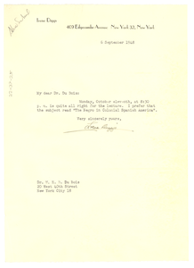 Letter from Irene Diggs to W. E. B. Du Bois