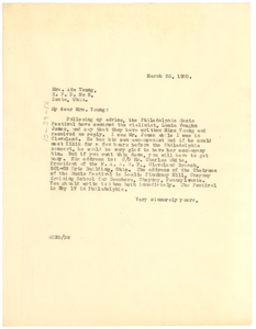 Letter from W. E. B. Du Bois to Ada Young