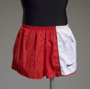 Running shorts worn and signed by Carl Lewis