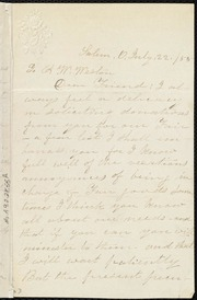 Letter] To A. W. Weston, Dear Friend [manuscript