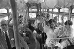Riders on new bus, Los Angeles, 1986