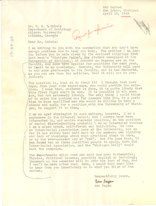 Letter from Ann Fagan to W. E. B. Du Bois