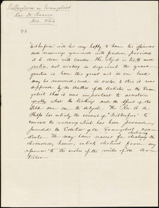 Letter from William Wilberforce to Amos Augustus Phelps, 1844 Nov[ember]