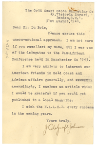 Letter from J. Colegraft to W. E. B. Du Bois