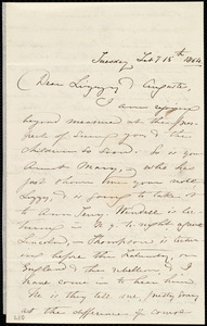 Letter from Maria Weston Chapman, [Boston, Mass.], to Auguste Laugel and Elizabeth Bates Chapman Laugel, Tuesday, Feb'y 15th, 1864