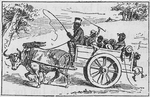 Family of ten riding in a ox cart