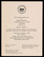 Invitation. Reception in honor of Charles L. Blockson