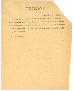 Memorandum from W. E. B. Du Bois to Walter White