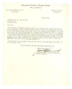 Letter from Jose H. Sherwood to Editor of the Crisis