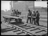 Section gang working on railroad track, Chicago, May 1948