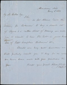 Adams & Wicks, Aberdeen, Miss., manuscript letter signed to Ziba B. Oakes, 4 January 1854