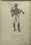 A Coromantyn Free Negro, or Banger, armed. Fourgeoud -Mariniers (Regiment no. 21), in Suriname van tot 1777
