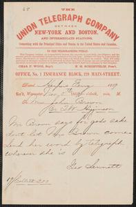 George Sennott telegram to Thomas Wentworth Higginson, Harper's Ferry [Va.], 5 November 1859