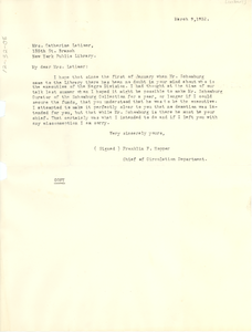 Letter from Franklin F. Hopper to Catherine Latimer