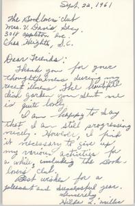 Letter from Hilda L. Miller to Book Lovers' Club Member, September 22, 1961