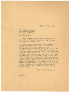 Letter from W. E. B. Du Bois to Cynthia Marks