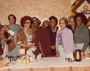 Event in honor of Rosa Parks. Rosa Parks (third from right), Jackie Mayberry (second from right), Allie Mae Hampton (third from left), Gloria James (middle in brown).