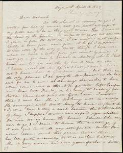 Letter from Anne Warren Weston, Weymouth, [Mass.], to Deborah Weston, April 18, 1839, Thursday evening