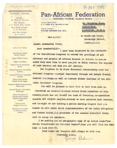 Letter from Pan-African Federation to Jawaharlal Nehru